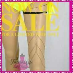 """Thigh Chain GOLDTONE ***WEEKEND SALE*** Add some sexy to your outfit with a Thigh Chain. Wear it with shorts, a mini skirt or a long sexy dress with a split. 3 layer goldstone chain with elastic garter. The elastic allows you to wear it higher or lower.   MEASUREMENTS  Band width: 13.5"""" stretches up to 24"""" (measured flat) Chain width: 18.5"""" Chain length from band 15""""  Silver also listed Jewelry"""