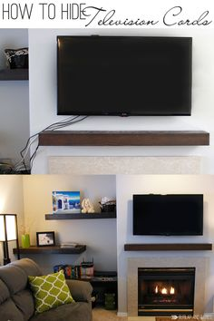 to Hide TV Cords Once and For All! Super easy how to hide those ugly tv cords. Full tutorial with supply list included!Super easy how to hide those ugly tv cords. Full tutorial with supply list included! Hide Tv Cords, Hiding Tv Cords On Wall, Hide Wires, Hide Tv Cables, Hiding Wires Mounted Tv, Hiding Cables, Tv Over Fireplace, Fireplace Mounted Tv, Simple Fireplace