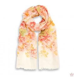 Japanese Gardens Soft Stole Orange & White. Luxury high quality made in Italy by Fulards.com free shipping.