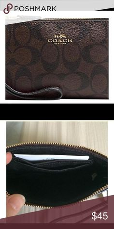 Nwt Coach F54629 Wristlet in Signature PVC Nwt Coach F54629 Wristlet in Signature PVC. Corner Zip. Ships next day! Coach Bags Clutches & Wristlets