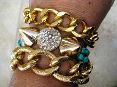 Gold Chunky Smooth Curb Chain Bracelet with Lobster Claw Clasp by CharmingChain, $12.00