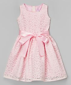 Look at this Pink Lace Bow Dress - Infant, Toddler & Girls on #zulily today!