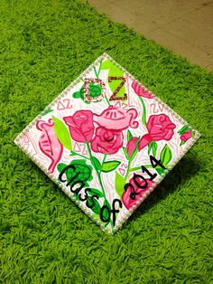 Delta Zeta Lilly pulitzer painted graduation cap! Lilly pulitzer craft and DIY. By Taylor Storrer
