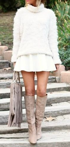 #winter #fashion / fluffy knit + camel boots