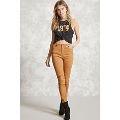 Forever21 Contemporary Skinny Jeans ($18) ❤ liked on Polyvore featuring jeans, camel, denim skinny jeans, highwaist jeans, high rise jeans, cut skinny jeans and high waisted jeans
