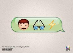 Pelis con emoticonos para promocionar una app de cine en el móvil