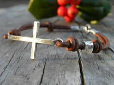 Sterling Silver Cross Leather Bracelet Mens Unisex Chocolate leather Artisan Handcrafted Bohemian Urban Modern on Etsy, $85.00