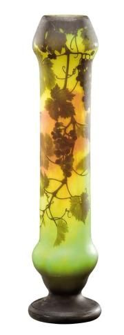 Daum Nancy~Important~Enlarged~Cylindrical vase in lined glass acid-etched with vine leaves and bunches of grapes ona mottled background~Circa 1910