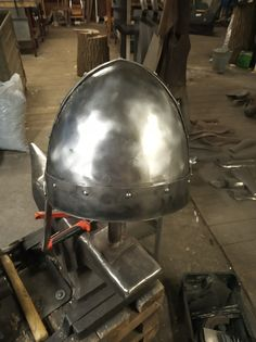 Morgan bible(crusader bible) inspired helmet rivetted od two plates Iron Golem, Charcoal Grill, Helmet, Bible, Plates, Inspired, Outdoor Decor, Inspiration, Home Decor