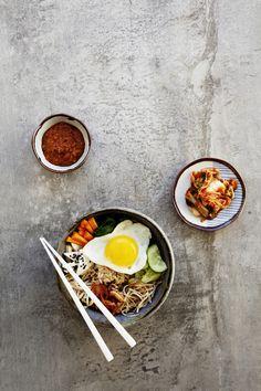 Korean Bibimbap with Kochujang Sauce and Vegan Kimchi