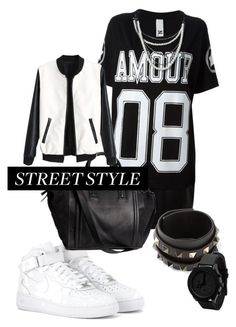 """""""Street wear"""" by anblazhko ❤ liked on Polyvore featuring NEPAL Downtown, NIKE, H&M and Valentino"""