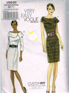 Vogue V8630, Sewing Pattern, Very Easy Vogue, Misses' Dresses, Size 14, 16, 18, 20, 22, Out of Print by OhSewWorthIt on Etsy