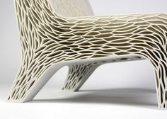 Biomimicry chair by Lilian van Daal replaces traditional upholstery with 3D-printed structure.