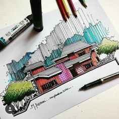 Pinned by: ? Architecture Sketchbook, Architecture Panel, Architecture Design, Sketches Arquitectura, Drawing Sketches, Art Drawings, Drawn Art, Hand Sketch, Urban Sketching