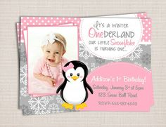 Winter ONEderland Girly Penguin Pink & Grey Birthday Party Printable Invitation Digital File. $10.00, via Etsy.