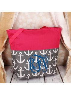 www.ewam.com Market Shopping Tote in Gray and White Anchor and Pink