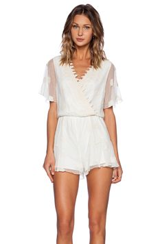 Line & Dot Embroidery Romper in Cream | REVOLVE
