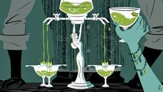 "67 Orange Street: ""On a recent Wednesday … a table full of mirthful young men in blazers and J. Crew boyfriend gingham requested the absinthe fountain, held aloft by a metallic nude figurine, as Parliament's 'Flash Light' pumped from the speakers."" (Illustration by Daniel Krall)"