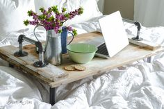 DIY Rustic Decor • Ideas and tutorials, including this DIY pipe handled bed tray by Donna at 'Funky Junk Interiors'!