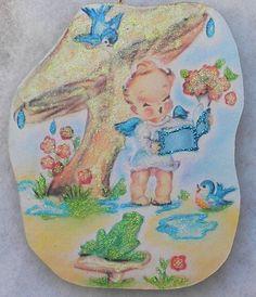 Angel Mushroom Rain Frog Birds Vtg Easter Greeting Card Glittered Wood Ornament