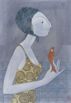 blue - woman and fish - illustration - Charlotte Gastaut