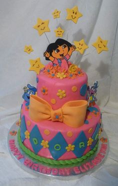 Dora the explorer's children's party - Celebrat : Home of Celebration, Events to Celebrate, Wishes, Gifts ideas and more ! Dora Birthday Cake, Dora Cake, Fancy Cakes, Cute Cakes, Fondant Cakes, Cupcake Cakes, Dora And Friends, Dora The Explorer, Cake Pictures