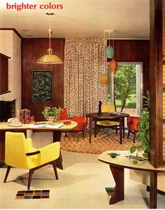 Betty Pepis Interior Decoration A to Z #1. Great MCM 50's office / game room. Love that trio of pendant lamps.