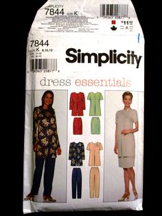 Simplicity 7844 Size 8 10 12 Dress Essentials Knee Length Skirt High Waist Straight Leg Pants Long Tunic Jacket Top Pattern 1990s UNCUT by RuthsGreenTreasures on Etsy