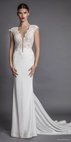 muse berta fall 2017 bridal cap sleeeves deep plunging v neckline heavily embroidered bodice elegant sexy sheath wedding dress open low back chapel train (aisha) mv -- Muse by Berta Fall 2017 Wedding Dresses