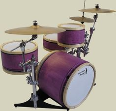 All the drums break down and fit in one case the size of the Bass Drum without having to undo tension on the heads. Snare Drum, Bass Drum, Drummer Gifts, Pink And Green, Purple, How To Play Drums, Drum Kits, Drummers, Percussion
