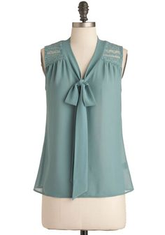 Science of Chic Top. You may be a rocket scientist, but you know anyone can tell that this sheer chiffon top of aquamarine is supremely stylish.  #modcloth