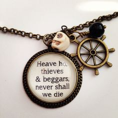 Pirates of the Caribbean necklace ($27) ❤ liked on Polyvore featuring jewelry, necklaces, charm jewelry, pirate charms, charm necklace, pirate jewelry and pirate necklace