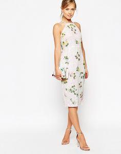 Imagen 4 de Vestido de tubo floral de lentejuelas tornasoladas con espalda drapeada de ASOS PETITE SALON