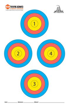 Printable Shooting Targets Colors Are Black White And Red