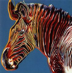 Andy Warhol endangered animal series of prints. Example for zentangle project only the stripes of the zebra will be filled in with zentangles.