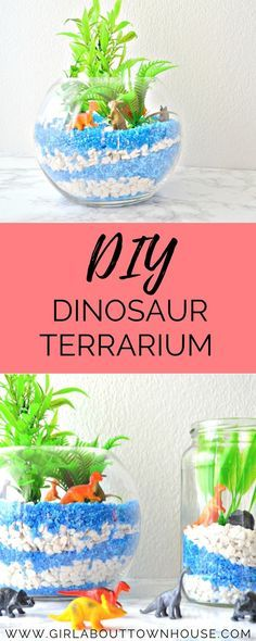 Awesome Dinosaur Craft! DIY dinosaur terrarium tutorial. Perfect for a kids bedroom, super fun and so simple to make.Plus, you don't need to water it! Dino obsessed little ones will love it.