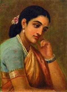 Four Portraits Studies Woman 4 - Art Prints by Raja Ravi Varma Ravivarma Paintings, Indian Art Paintings, Amazing Paintings, Portraits, Portrait Art, Small Canvas Prints, Namaste Art, Raja Ravi Varma, Indian Women Painting
