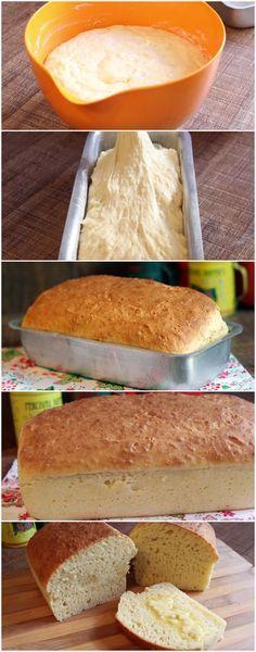 Pão Caseiro de Massa Mole - NÃO PRECISA SOLVAR E FICA MARAVILHOSOOOO! #pão #pãocaseiro #pãodemassamole