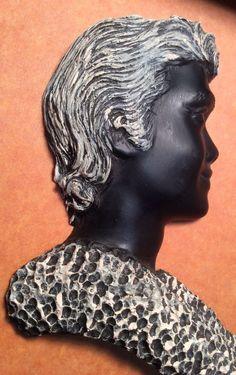 Vintage Frank Schirman Beauties Black Coral Hawaii Man Wall Plaque Silhouette