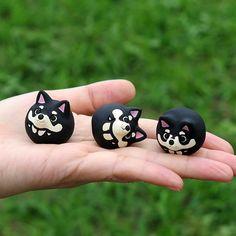 Shiba Inu figurine of Ceramics The black by Sirosfunnyanimals