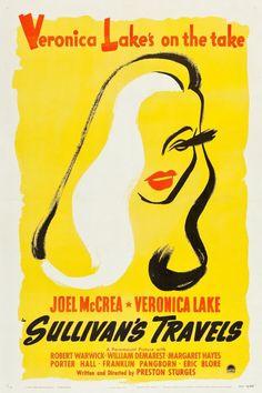 Solid-Faced Canvas Print Wall Art Print entitled Veronica Lake - Sullivan's Travels, None Best Movie Posters, Classic Movie Posters, Cool Posters, Travel Posters, Veronica Lake, Clockwork Orange Film, Preston Sturges, Top Comedies, Thankful