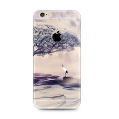 Crane Tree Scenery Nature iPhone 6s 6 Plus SE 5s 5 Soft Clear Case