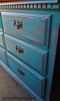 Charmant Dresser In Peacock Blue Distressed Down To Red. Facelift Furniture DIY Blog.