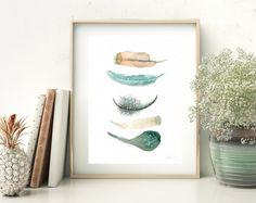 Boho artprint pluma de la pintura de acuarela Moderno