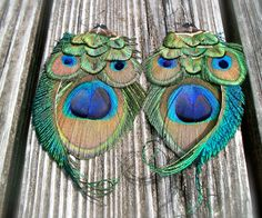 OWL SPIRIT Peacock Feather Earrings by FeatherPixie on Etsy