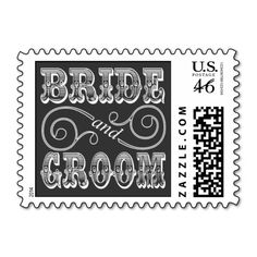 Black And White Chalkboard Wedding Bride And Groom Postage Stamps