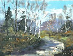 THE ROAD NOT TAKEN  8x10 art print robert frost landscape  Jim Smeltz w/ ACEO  #Impressionism