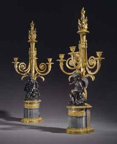 A PAIR OF LOUIS XVI ORMOLU, PATINATED BRONZE AND BLEU TURQUIN MARBLE THREE-BRANCH CANDELABRA CIRCA 1785, AFTER A MODEL BY ETIENNE MAURICE FALCONET  Price realised  USD 206,500 Estimate USD 150,000 - USD 250,000
