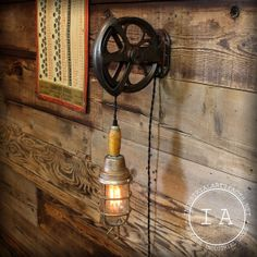 Vintage Industrial Cast Iron Pulley Wood by IndustrialArtifact, $345.00