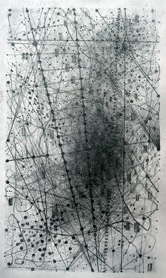 S4 by Emma McNally, But though one's initial impression may be of maps or other kinds of compressed or abstracted informational forms, in the end these works are fully independent of the types of object they superficially resemble. … McNally is technically very inventive, generating with the pencil a multiplicity of lines, dots, scratches or tracks, building up individual works from literally thousands and thousands of marks that frequently make up specific units or shapes.